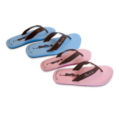 Bonnie Marcus Expecting in Style Size Large Flip Flops in Blue