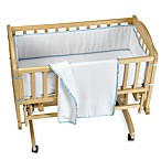 Tadpoles™ White Eyelet 3-Piece Cradle Set with Blue Trim