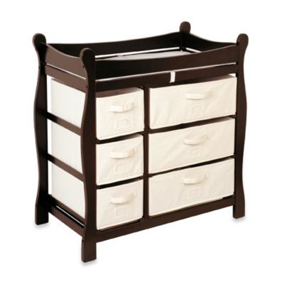 Badger Basket Sleigh Changing Table with 6 Baskets in Espresso