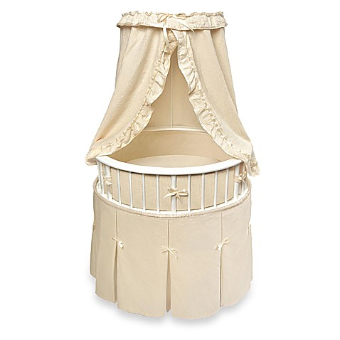 Badger Basket Oval Bassinet in White with Ecru Waffle Bedding