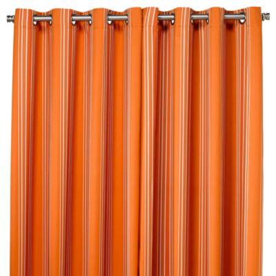 Commonwealth Home Fashions Gazebo Striped 84-Inch Outdoor Curtain in Orange