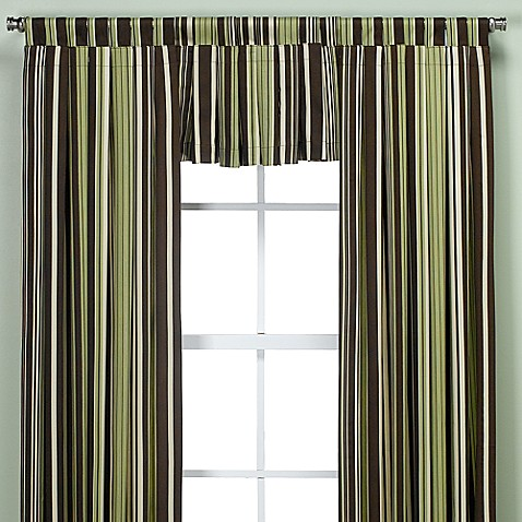 Henley Window Curtain Valance in Green/Chocolate