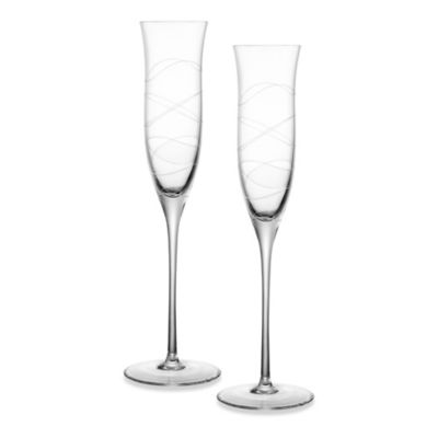 Nambe Crystal Toasting Flutes (Set of 2)