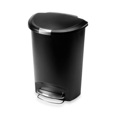 simplehuman® Plastic Semi-Round 50-Liter Step-On Trash Can in Black