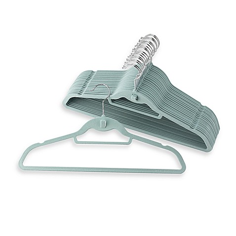 Real Simple Slimline Hangers with Built-in Hooks (Set of 50) - Blue