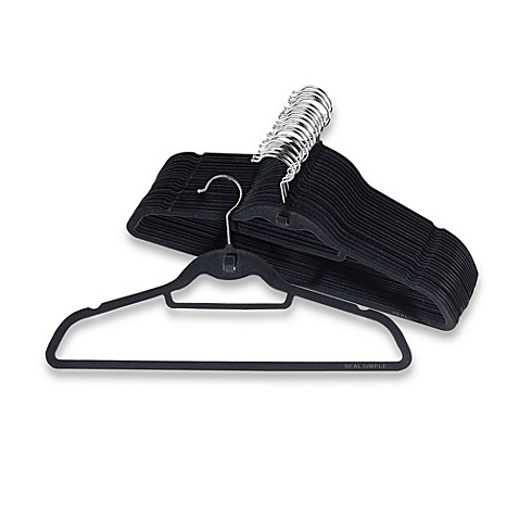 Real Simple Slimline Hangers with Built-in Hooks (Set of 50) in Black