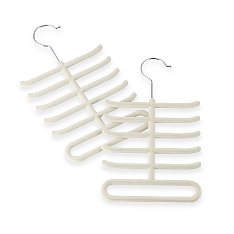 Real Simple®  Slimline Tie Hangers in Stone (Set of 2)
