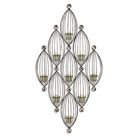 Jewel Wall Sconce with Amber Glass Votive Holders