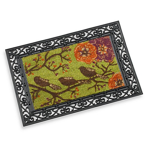Rubber Door Mat Frame And Three Birds Decorative Insert
