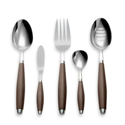 Silversmiths Fiesta Flatware 5-Piece Hostess Set in Chocolate