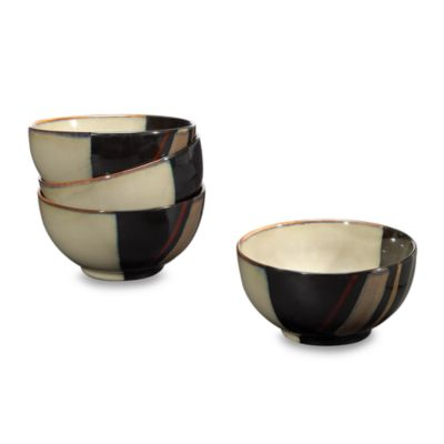 Sango Avanti Black 18 oz. Ice Cream Bowls (Set of 4)