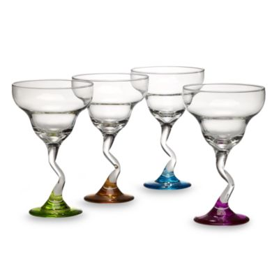 Libbey® Margarita Glasses with Assorted Color Z-Stems (Set of 4)