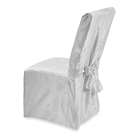 Spring Meadow Damask Dining Room Chair Cover - White