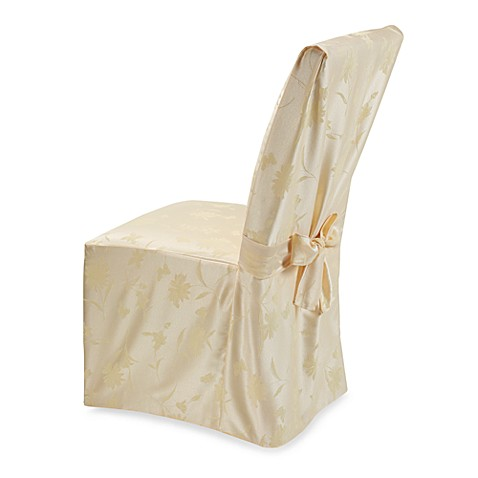 Spring Meadow Damask Dining Room Chair Cover in Butter