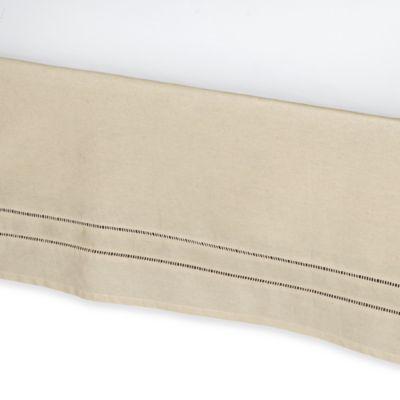 B. Smith Linen Hemstitch California King Bed Skirt in Stone