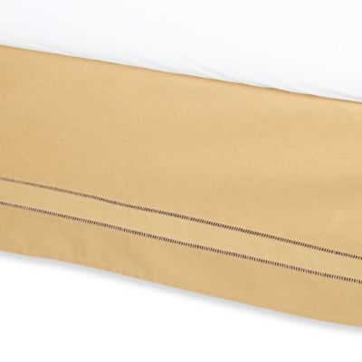 B. Smith Linen Hemstitch Full Bed Skirt in Wheat
