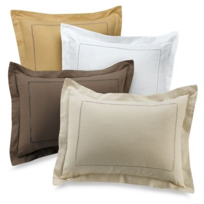 B. Smith Linen Hemstitch Standard Sham in Wheat