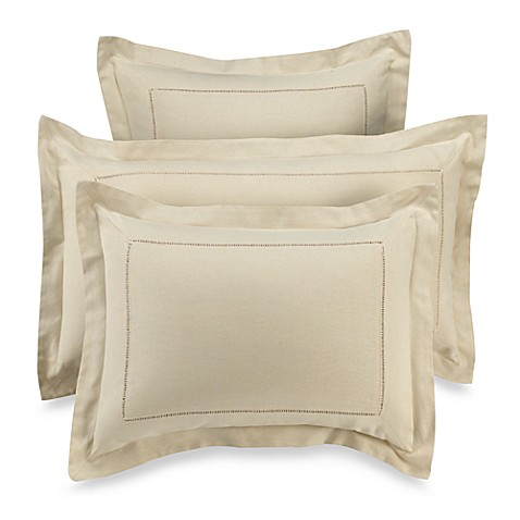 B. Smith Linen Hemstitch King Sham in Stone
