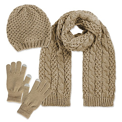 Luxspun 3-Piece Cable Knit Hat, Scarf and Touch Glove Set in Beige
