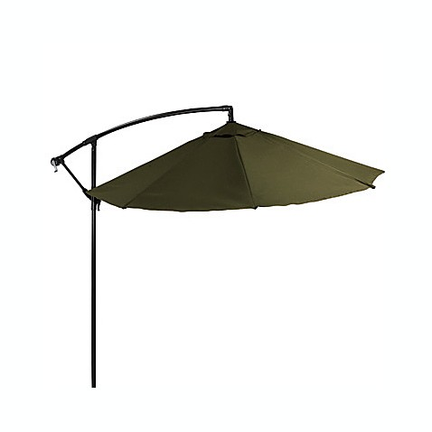 9-Foot Powder-Coated Steel Cantilever Round Umbrella in Olive