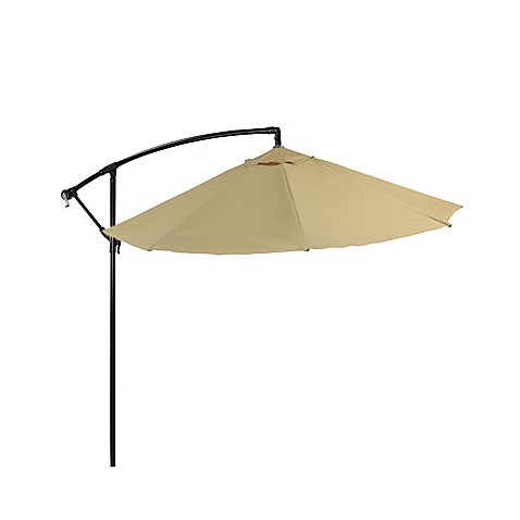 9-Foot Powder-Coated Steel Cantilever Round Umbrella in Khaki