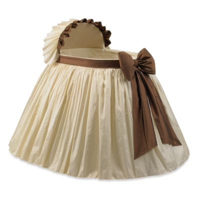 Elegant Ivory and Brown Bassinet