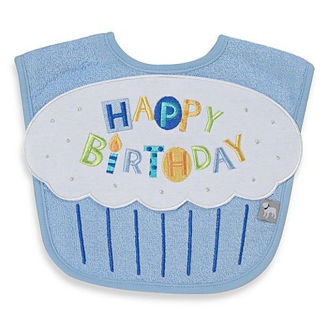 Frenchie Mini Couture Happy Birthday Bib in Blue