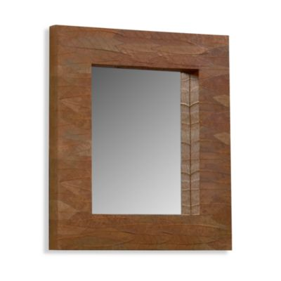 Recycled Leaf Mirror in Mahogany