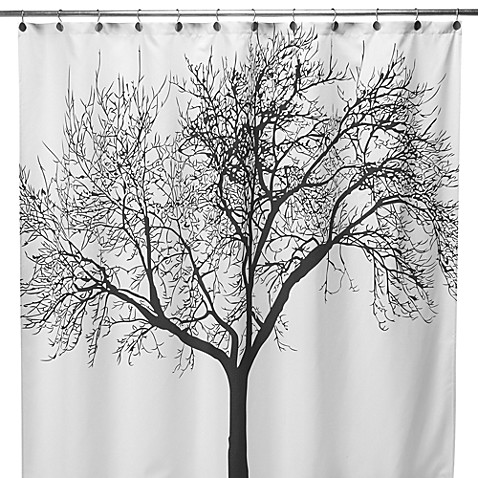Black Tree Fabric 70-Inch x 72-Inch Shower Curtain