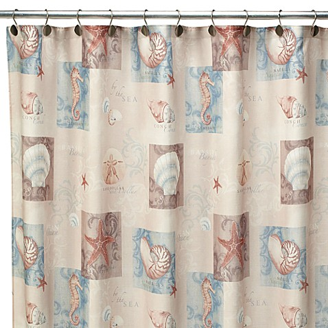Ocean Shell 70-Inch W x 72-Inch L Fabric Shower Curtain from Bed Bath ...