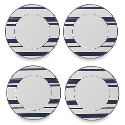Mikasa® Color Studio Blue and Platinum Stripe 8 1/2-Inch Accent Plates (Set of 4)