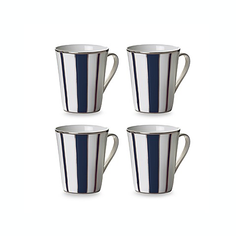 Mikasa® Color Studio Blue and Platinum Stripe 13-Ounce Mugs (Set of 4)
