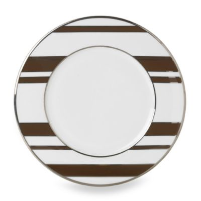 Mikasa® Color Studio Brown and Platinum Stripe 8 1/2-Inch Accent Plates (Set of 4)
