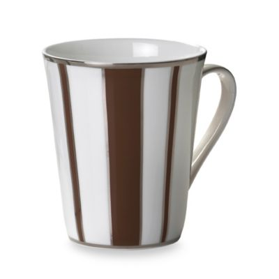 Mikasa® Color Studio Brown and Platinum Stripe 13-Ounce Mugs (Set of 4)
