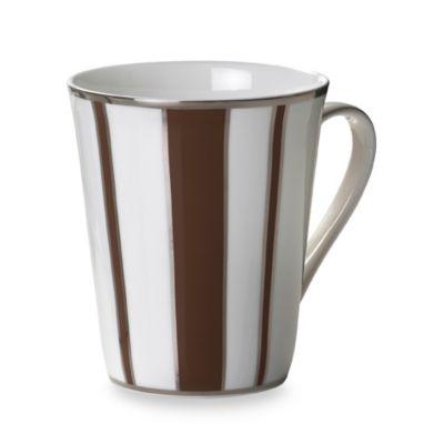 Mikasa® Color Studio Brown and Platinum Stripe 13-Ounce Mugs (Set of 4)