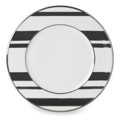 Mikasa® Color Studio Black and Platinum Stripe 8 1/2-Inch Accent Plates (Set of 4)