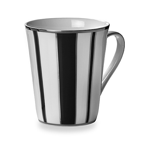 Mikasa® Color Studio Black and Platinum Stripe 13-Ounce Mugs (Set of 4)