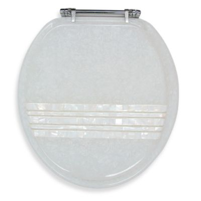 Mother of Pearl Banded Lid Standard Size Resin Toilet Seat