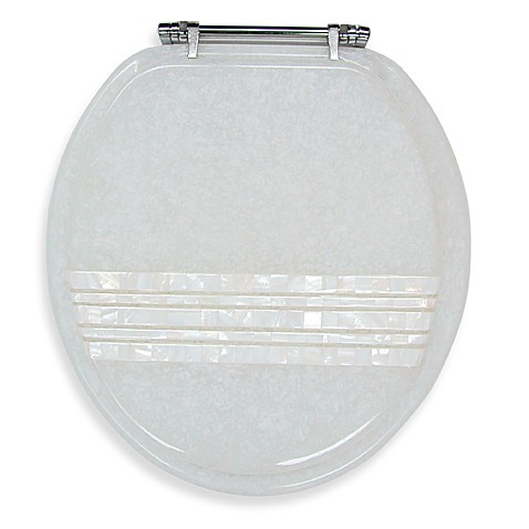 Ginsey Mother of Pearl Banded Lid Standard Resin Toilet Seat