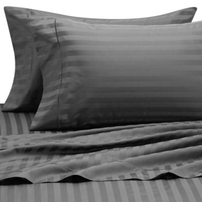 Wamsutta® 500 Damask Stripe King Sheet Set in Charcoal