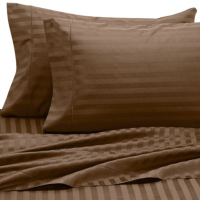 Wamsutta® 500 Damask Queen Sheet Set in Chocolate
