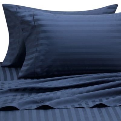 Wamsutta® 500 Damask Stripe Full Sheet Set in Navy