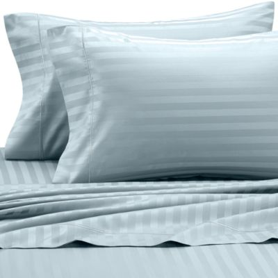 Wamsutta® 500 Damask Stripe King Sheet Set in Light Blue