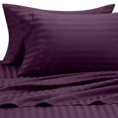 Wamsutta® 500 Damask Queen Sheet Set in Purple