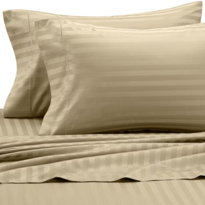 Wamsutta® 500 Damask Stripe King Sheet Set in Wheat