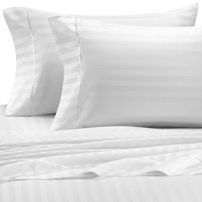Wamsutta® 500 Damask Stripe Queen Sheet Set in White