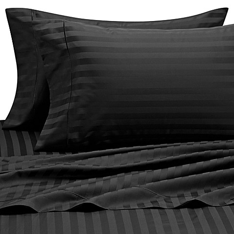 Wamsutta® 500 Damask Stripe Twin Sheet Set in Black