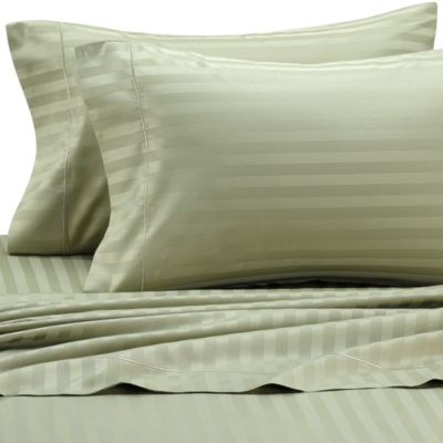 Wamsutta® 500 Damask Stripe Queen Sheet Set in Green Tea