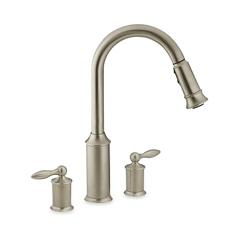 Moen® Aberdeen™ Pull Out Two-Handle Stainless Steel Kitchen Faucet