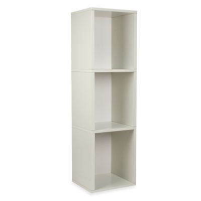Way Basics Tool-Free 3 Shelf Bookcase and Storage in White